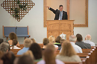 NWA Democrat-Gazette/J.T. WAMPLER -Pastor Brad Arnold preaches Sunday June 7, 2015 to the congregation of the Fellowship Bible Church of Springdale.