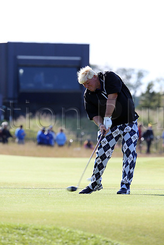 15.07.2015. The Old Course, St Andrews, Fife, Scotland.  John Daly  of the United States tees off during a practice round of the 144th British Open Championship at the Old Course, St Andrews in Fife, Scotland.