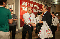 New York Mayoral candidate Sal Albanese campaigns at the Pomegranate kosher supermarket in the predominantly Jewish neighborhood of Midwood in Brooklyn on Tuesday, September 3, 2013. The Jewish New Year, Rosh Hashonah, starts at sundown on Wednesday, September 4 and shoppers were stocking up on their holiday provisions. Albanese and candidate Erick Salgado were excluded from the night's debate by the debate organizers.   (©Richard B. Levine)