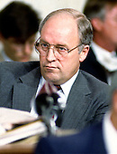 United States Representative Dick Cheney (Republican of Wyoming), the ranking House Republican on the joint House and Senate Iran-Contra Committee, delivers his closing remarks during the final hearing in Washington, D.C. on August 3, 1987.<br /> Credit: Ron Sachs / CNP