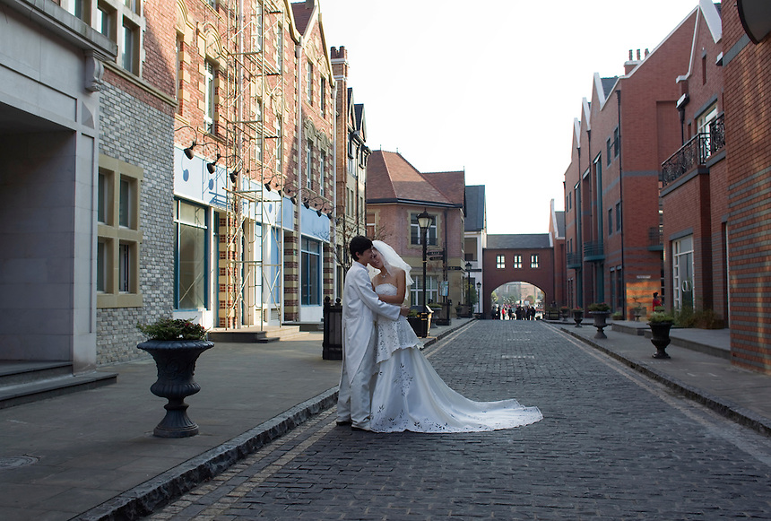 The new city of Thames Town on the outskirts of Shanghai is built to resemble a traditional English town. While most of the shops and restaurants have gone bankrupt in recent years, it is a popular destination for wedding photography.
