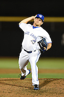 Dunedin Blue Jays pitcher Arik Sikula (50) delivers a pitch during a game against the Daytona Cubs on April 14, 2014 at Florida Auto Exchange Stadium in Dunedin, Florida.  Dunedin defeated Daytona 1-0  (Mike Janes/Four Seam Images)