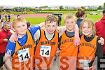 Ballyheigue athletes at the Denny Kerry Community Games finals in Castleisland on Saturday l-r: Séimí O Fuaráin, Padraig Woods, Shane Duggan and Emma Woods