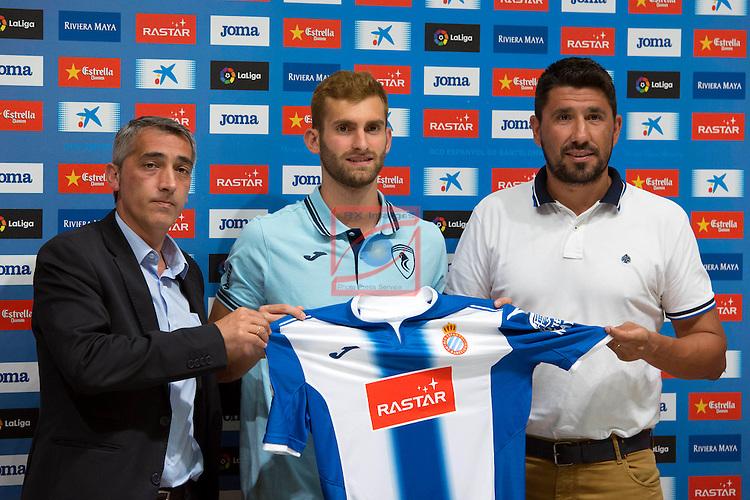 League BBVA 2016/2017.<br /> Leo Baptistao presented as new player of RCD Espanyol.<br /> Ramon Robert, Leo Baptistao &amp; Angel Gomez.