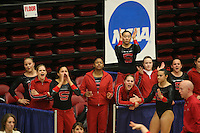 8 April 2006: Stanford's Alex Pintchouk, Aimee Precourt, Jessica Louie, Glyn Sweets, Lauren Elmore, Tabitha Yim, Liz Tricase, Heather Purnell, and Kelly Fee during the NCAA West Regional women's gymnastics championships at Maples Pavilion in Stanford, CA.
