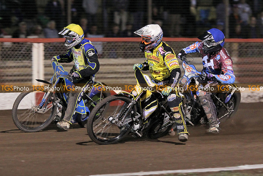 Heat 9: Stuart Robson (blue), Scott Nicholls (white) and Jan Graversen - Lakeside Hammers vs Coventry Bees - Sky Sports Elite League Speedway at Arena Essex Raceway, Purfleet - 10/09/12 - MANDATORY CREDIT: Gavin Ellis/TGSPHOTO - Self billing applies where appropriate - 0845 094 6026 - contact@tgsphoto.co.uk - NO UNPAID USE.