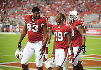 Aug. 22, 2009; Glendale, AZ, USA; Arizona Cardinals defensive end (93) Calais Campbell and cornerback (29) Dominique Rodgers-Cromartie against the San Diego Chargers during a preseason game at University of Phoenix Stadium. Mandatory Credit: Mark J. Rebilas-