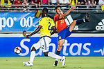 Marco Asensio of Spain competes for the ball with Cristian Eduardo Zapata of Colombia during the friendly match between Spain and Colombia at Nueva Condomina Stadium in Murcia, jun 07, 2017. Spain. (ALTERPHOTOS/Rodrigo Jimenez)