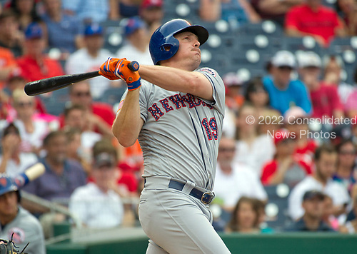 New York Mets right fielder Jay Bruce (19) strikes out in the first inning against the Washington Nationals at Nationals Park in Washington, D.C. on Monday, July 3, 2017.<br /> Credit: Ron Sachs / CNP<br /> (RESTRICTION: NO New York or New Jersey Newspapers or newspapers within a 75 mile radius of New York City)