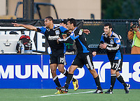 Ryan Johnson of Earthquakes celebrates with teammates after Johnson scored a goal during the first half of the game against Red Bull at Buck Shaw Stadium in Santa Clara, California.  San Jose Earthquakes defeated New York Red Bulls, 4-0.