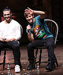 "Giuseppe Bausilio and Thayne Jasperson during the eduHAM Q & A before The Rockefeller Foundation and The Gilder Lehrman Institute of American History sponsored High School student #EduHam matinee performance of ""Hamilton"" at the Richard Rodgers Theatre on November 20, 2019 in New York City."