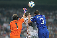 Real Madrid's Casillas and Sergio Ramos and Juventus Chiellini