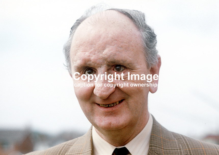 Bertie McConnell, Bangor, Co Down, N Ireland, candidate, Alliance Party of N Ireland, North Down consituency, N Ireland Assembly Election, June 1973. Mr McConnell is blind. 197305000278a.<br /> <br /> Copyright Image from Victor Patterson, 54 Dorchester Park, Belfast, UK, BT9 6RJ<br /> <br /> t1: +44 28 9066 1296 (from Rep of Ireland 048 9066 1296)<br /> t2: +44 28 9002 2446 (from Rep of Ireland 048 9002 2446)<br /> m: +44 7802 353836<br /> <br /> e1: victorpatterson@me.com<br /> e2: victorpatterson@gmail.com<br /> <br /> The use of my copyright images is subject to my Terms &amp; Conditions.<br /> <br /> It is IMPORTANT that you familiarise yourself with them. They are available on my website at www.victorpatterson.com.<br /> <br /> None of my copyright images may be used on a website unless they are visibly watermarked, i.e. &copy; Victor Patterson within the body of the visible image. Metadata denoting my copyright must NOT be deleted. <br /> <br /> Web use (maximum size - 300 kb) is extra at currently recommended NUJ rates.