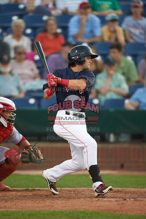 Portland Sea Dogs designated hitter Andrew Benintendi (18) base hit to left field in the bottom of the fifth inning during a game against the Reading Fightin Phils on May 31, 2016 at Hadlock Field in Portland, Maine.  Reading defeated Portland 6-4.  (Mike Janes/Four Seam Images)