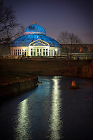 The Marjorie McNeely Conservatory and frog pond. The Palm Dome was lit up blue on April 2 for World Autism Awareness Day. The conservatory was first opened to the public in November of 1915.