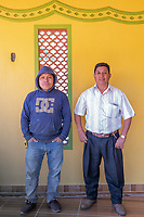 Mario de la Cruz (builder) and Javier Luna Hernandez at Javier's restaurant soon to be opened in San Juan Chamula. Arquitectura Libre / Free Architecture, Chiapas, Mexico