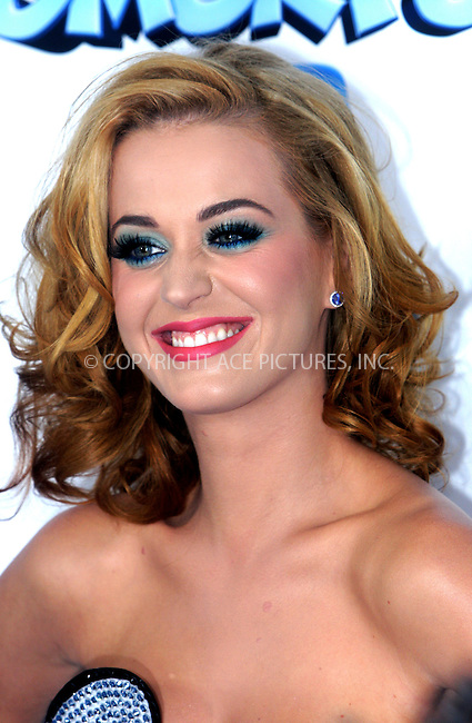 WWW.ACEPIXS.COM . . . . .  ....July 24 2011, New York City....Singer Katy Perry arriving at the premiere of 'The Smurfs' at the Ziegfeld Theater on July 24, 2011 in New York City. ....Please byline: NANCY RIVERA- ACEPIXS.COM.... *** ***..Ace Pictures, Inc:  ..Tel: 646 769 0430..e-mail: info@acepixs.com..web: http://www.acepixs.com