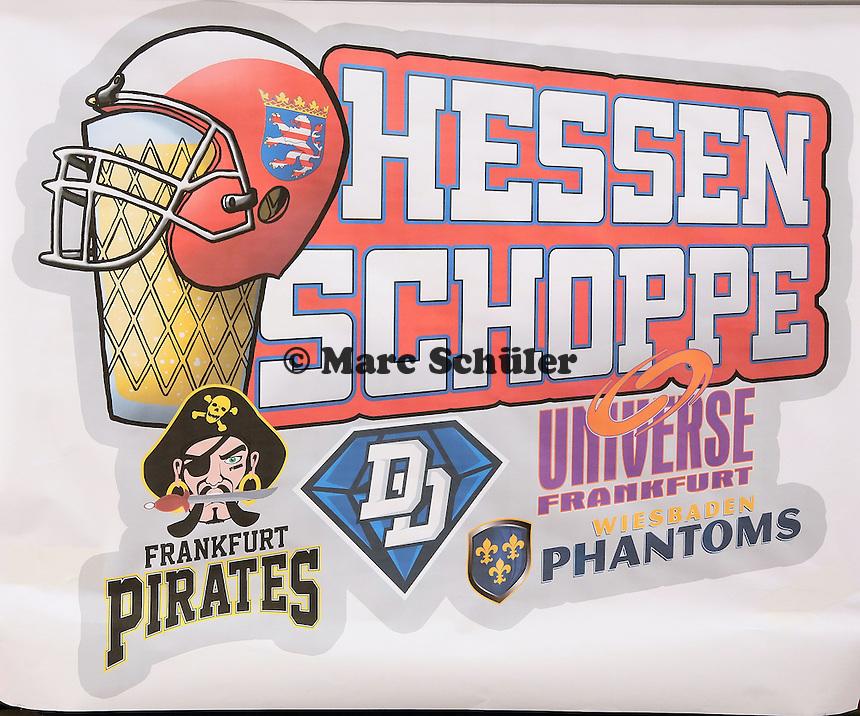 Logo zum Hessen Schoppe, dem Derby zwischen den vier südhessischen American Football Zweitligisten in der Frankfurter Commerzbank Arena