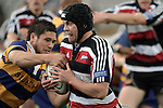 Blair Feeney contends with Cory Aporo during the Air NZ Cup rugby game between Bay of Plenty & Counties Manukau played at Blue Chip Stadium, Mt Maunganui on 16th of September, 2006. Bay of Plenty won 38 - 11.