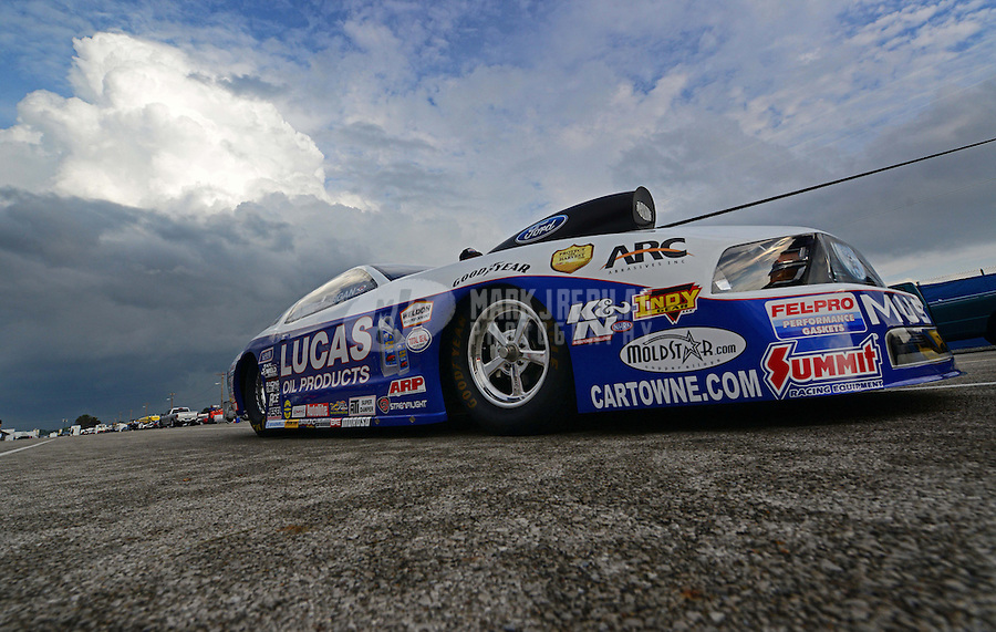 Sept. 1, 2012; Claremont, IN, USA: NHRA pro stock driver Larry Morgan during qualifying for the US Nationals at Lucas Oil Raceway. Mandatory Credit: Mark J. Rebilas-