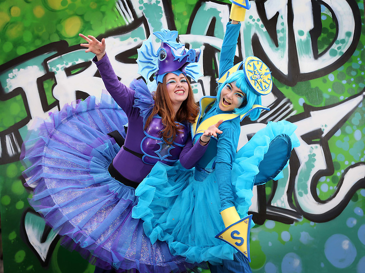 "No Repro Fee.<br /> Artastic Pageant characters, Rachel Lalley (left) and Piyanuch Chanphet, pictured in the historic grounds of St. Patrick's Park as they burst into colour as the Lord Mayor of Dublin Brendan Carr officially launched St. Patrick's Festival 2017. The theme for this year's festival is ""Ireland You Are"" and young children were on hand to display words which they believe describes their Ireland today. Pic. Robbie Reynolds"
