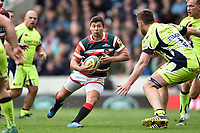 Ben Youngs of Leicester Tigers in possession. Aviva Premiership match, between Leicester Tigers and Sale Sharks on April 29, 2017 at Welford Road in Leicester, England. Photo by: Patrick Khachfe / JMP
