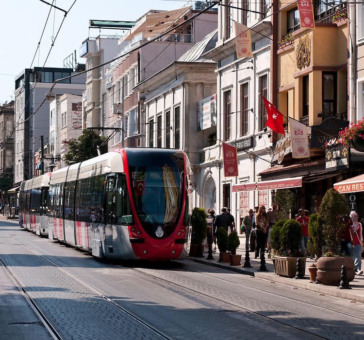 Istanbul Tram 02<br /> Tram in Divan Yolu Caddesi, Sultanahmet, Istanbul, Turkey