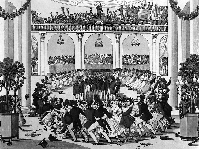 People dancing the Grand Galop composed by Johann Strauss, in a Vienna ballroom with the orchestra playing on the balcony, 1839, print by Anton Geiger after Johann Christian Schoeller. Copyright © Collection Particuliere Tropmi / Manuel Cohen