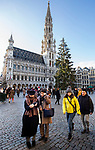 BRUSSELS - BELGIUM - 30 November 2018 -- The the Christmas tree on Grand Place is offered by Northern region of Kainuu of Finland. The Finnish theme is visible in the decoration and the blue and white lights, the colors of Finnish flag. -- PHOTO: Juha ROININEN / EUP-IMAGES