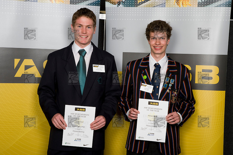 Boys Distance Running finalists James Hand & Michael Banks. ASB College Sport Young Sportperson of the Year Awards 2008 held at Eden Park, Auckland, on Thursday November 13th, 2008.