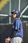 18 August 2012: Brooklyn Cyclones infielder Dimas Ponce awaits his turn in the batting cage prior to a game against the Vermont Lake Monsters at Centennial Field in Burlington, Vermont. The Lake Monsters defeated the Cyclones 4-1 in NY Penn League action. Mandatory Credit: Ed Wolfstein Photo