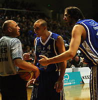 Lindsay Tait and Kevin Owens question referee Gavin Whiu's decision during game two of the NBL Final basketball match between the Wellington Saints and Waikato Pistons at TSB Bank Arena, Wellington, New Zealand on Friday 20 June 2008. Photo: Dave Lintott / lintottphoto.co.nz