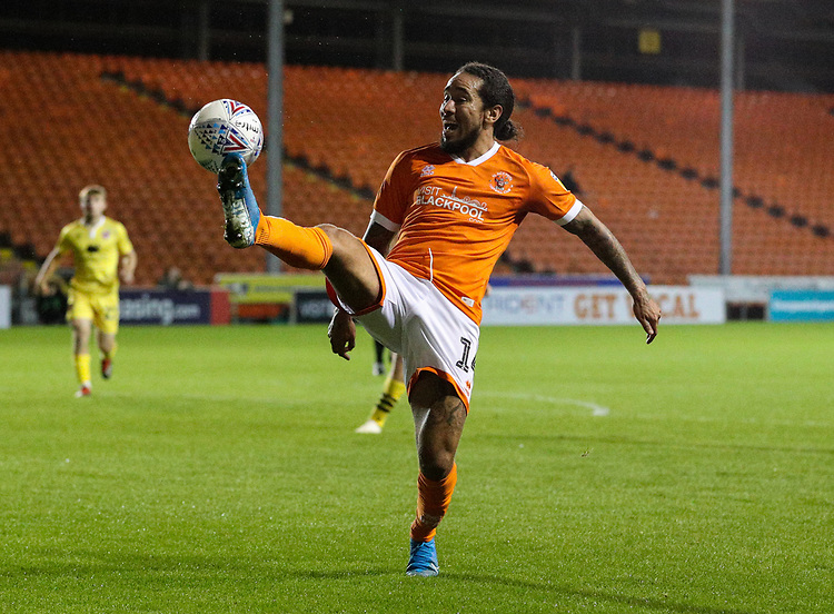 Blackpool's Sean Scannell in action<br /> <br /> Photographer Alex Dodd/CameraSport<br /> <br /> EFL Leasing.com Trophy - Northern Section - Group G - Blackpool v Morecambe - Tuesday 3rd September 2019 - Bloomfield Road - Blackpool<br />  <br /> World Copyright © 2018 CameraSport. All rights reserved. 43 Linden Ave. Countesthorpe. Leicester. England. LE8 5PG - Tel: +44 (0) 116 277 4147 - admin@camerasport.com - www.camerasport.com