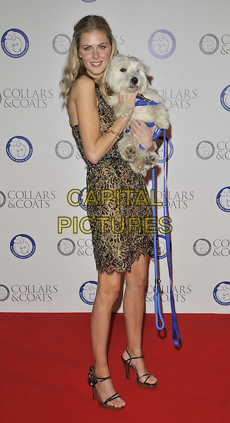 Donna Air.The Collars & Coats Gala Ball 2011, Battersea Evolution, Battersea Park, London, England..November 11th, 2011.full length black green beige print dress sleeveless dog animal carrying holding .CAP/CAN.©Can Nguyen/Capital Pictures.