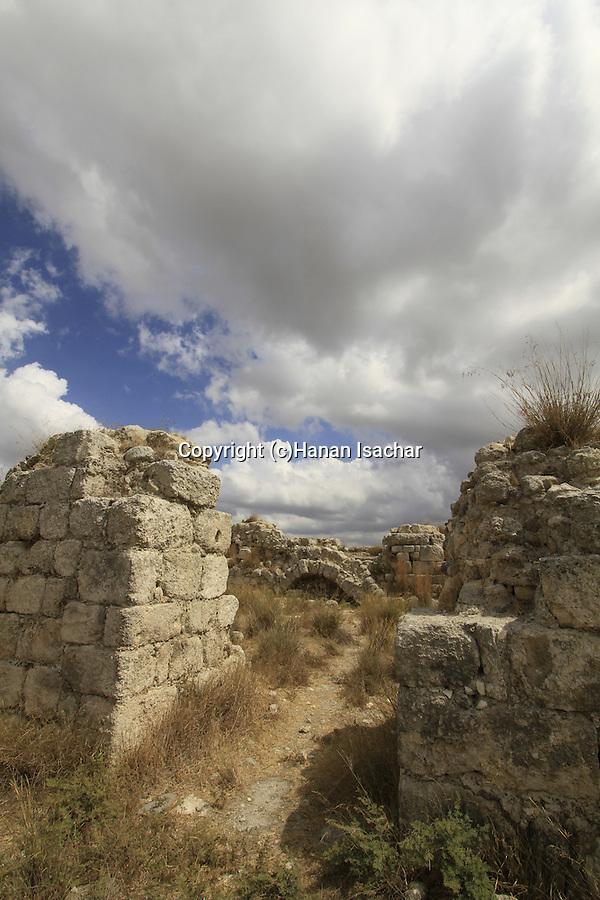 Israel, Shephelah, ruins of the Byzantine monastery in Tel Beth Shemesh
