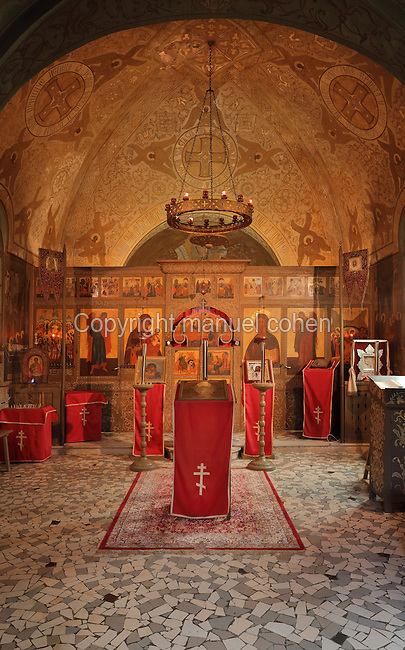 Interior of the Orthodox Chapel, designed by Albert Benois and built 1936-37, Saint-Hilaire-le-Grand, Marne, Champagne-Ardenne, France, honouring the 6,100 Russian soldiers killed on French battlefields, in memory of the Franco-Russian military alliance celebrated at the visit of Czar Nicholas II to Champagne in 1896 and 1901. The chapel was built with funds from the Association du Souvenir du Corps Expeditionnaire Russe. 1,000 Russian soldiers from 2 brigades who fought on the French front in 1916-18 are buried in the adjoining cemetery. The site is listed as a historic monument. Picture by Manuel Cohen