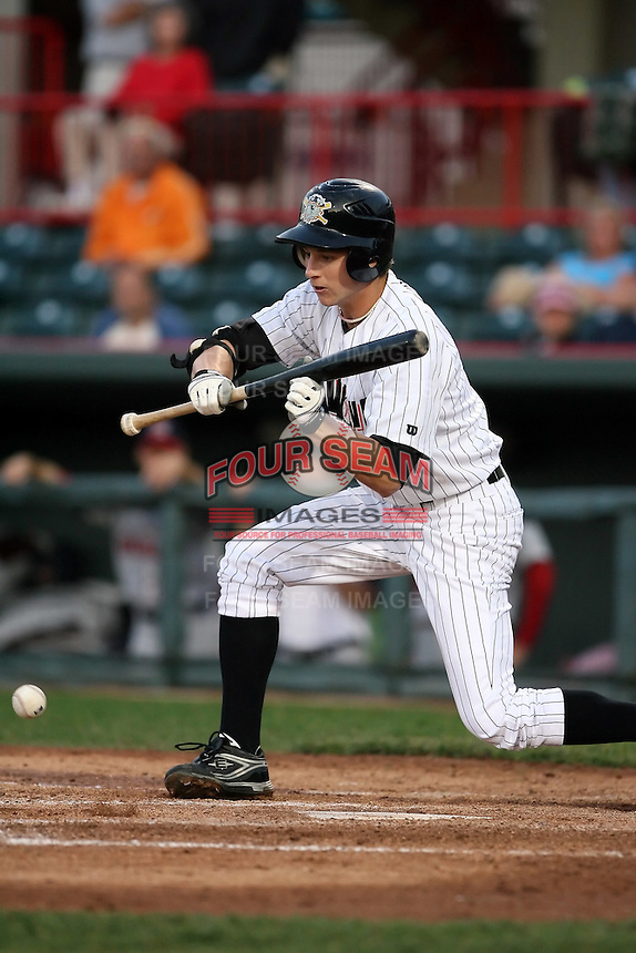 June 10th 2008:  Deik Scram (18) of the Erie Seawolves, Class-AA affiliate of the Detroit Tigers, in action during a game at Jerry Uht Park in Erie, PA.  Photo by:  Mike Janes/Four Seam Images