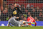 Danny Ings of Burnley almost capitalises on a defensive error but David de Gea and Ander Herrera of Manchester United combine to keep it out - Manchester United vs. Burnley - Barclay's Premier League - Old Trafford - Manchester - 11/02/2015 Pic Philip Oldham/Sportimage