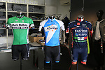 Sponsored teams jerseys on display in the showroom at the De Rosa factory, Cusano Milanino, Italy. 12th October 2018.<br /> Picture: Eoin Clarke | Cyclefile<br /> <br /> <br /> All photos usage must carry mandatory copyright credit (© Cyclefile | Eoin Clarke)
