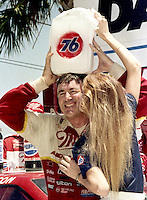 Bobby Allison victory lane cools block of ice Pepsi Firecracker 400 Daytona International Speedway Daytona Beach FL July 1987 (Photo by Brian Cleary/www.bcpix.com)
