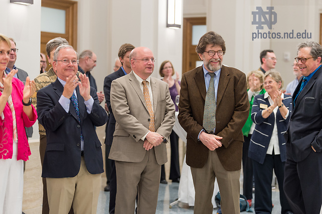 May 3, 2018 Reception to honor Jim McAdams as he steps down after 16 years as director of Nanovic Institute for European Studies.  (Photo by Barbara Johnston/University of Notre Dame)