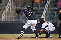 Wilfredo Rodriguez (37) of the Kannapolis Intimidators at bat against the Hickory Crawdads at Kannapolis Intimidators Stadium on April 22, 2017 in Kannapolis, North Carolina.  The Intimidators defeated the Crawdads 10-9 in 12 innings.  (Brian Westerholt/Four Seam Images)