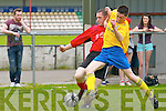 Lar O'Connor (Killorglin) in action with No 16 Asdee on Sunday in the Dennys Premier B League final on Sunday at Mounthawk Park, Tralee