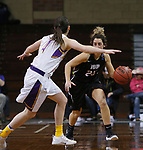 SIOUX FALLS, SD: MARCH 21:  Halle Denman #23 of Indiana (PA) drives toward Renee Stimpert #4 of Ashland during their game at the 2018 Division II Women's Basketball Championship at the Sanford Pentagon in Sioux Falls, S.D. (Photo by Dick Carlson/Inertia)