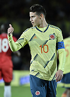 BOGOTA - COLOMBIA, 03-06-2019: James Rodriguez de Colombia en acción durante partido amistoso entre Colombia y Panamá jugado en el estadio El Campín en Bogotá, Colombia. / James Rodriguez of Colombia in action during a friendly match between Colombia and Panama played at Estadio El Campin in Bogota, Colombia.. Photo: VizzorImage / Gabriel Aponte / Staff