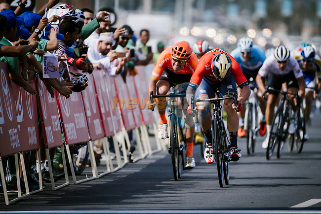 Sonny Colbrelli (ITA) Bahrain-Merida outsprints Greg Van Avermaet (BEL) CCC Team to win Stage 4 of 10th Tour of Oman 2019, running 131km from Yiti (Al Sifah) to Oman Convention and Exhibition Centre, Oman. 19th February 2019.<br /> Picture: ASO/P. Ballet | Cyclefile<br /> All photos usage must carry mandatory copyright credit (© Cyclefile | ASO/P. Ballet)