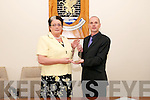 Mayor Of Listowel: Outgoing Mayor of Listowel Cllr. Marie Gorman, FF handing over the Chain of Office to incoming Mayor Cllr. Tom Barry, Sin Fein at a cermony in the council chamber in Listowel on Monday evening last.