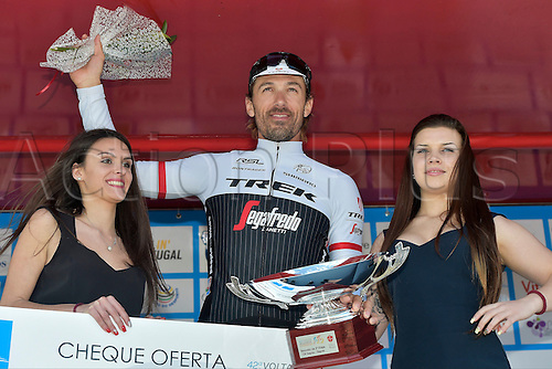 19.02.2016. Sagres, Portual.  CANCELLARA Fabian (SUI) Rider of TREK - SEGAFREDO celebrates the win during the podium ceremony after stage 3 of the 42nd Tour of Algarve cycling race, an individual time trial of 18km, with start and finish in Sagres on February 19, 2016 in Sagres, Portugal.