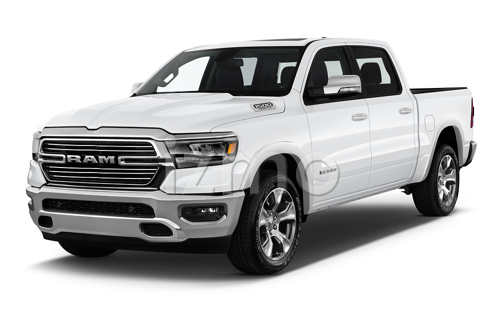 2019 Ram 1500 Crew Cab Laramie Short Box 4x2 4 Door Pick Up angular front stock photos of front three quarter view