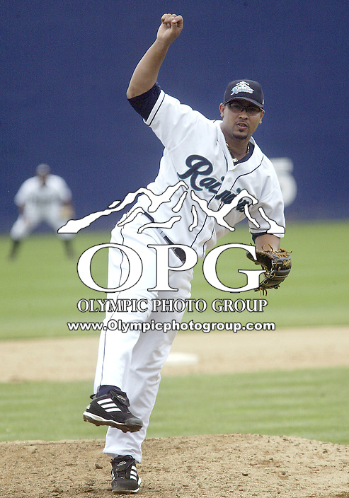 22 July 2007:  Tacoma Rainiers Juan Done fires the ball to the plate against  Las Vegas 51's at Cheney Stadium in Tacoma, Washington. Tacoma lost 6-2 to Las Vegas 51's.